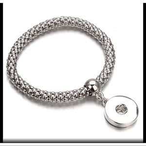 ❤️Silver elastic bracelet with ginger snap charm